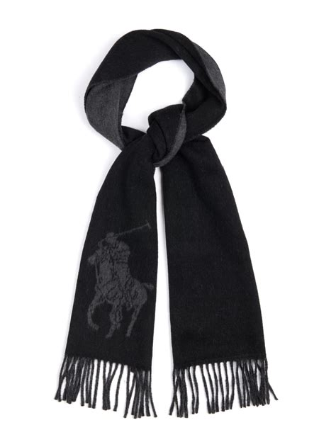 Scarf Polos Dan Motif polo ralph pony motif wool blend scarf in black for lyst