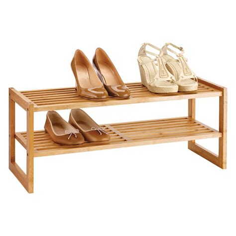 Bamboo Shoe Shelf by 2 Tier Bamboo Stackable Shoe Shelf The Container Store