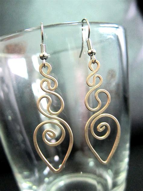 Handmade Jewelry Thailand - bronze dangle earrings swirl fashion designs handmade