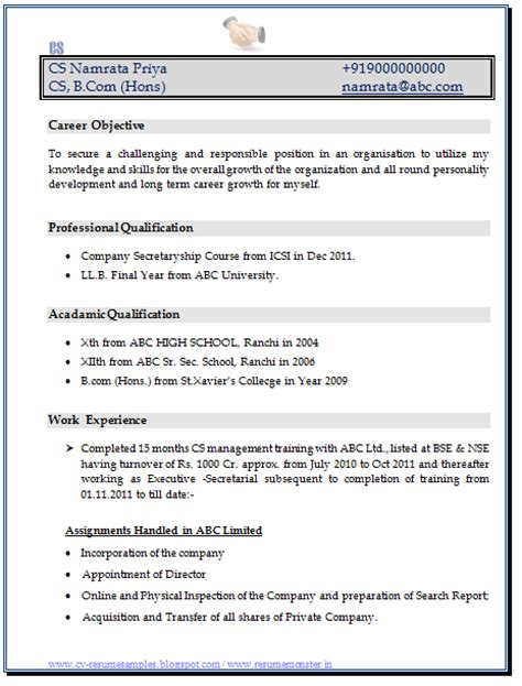 resume format for company 10000 cv and resume sles with free