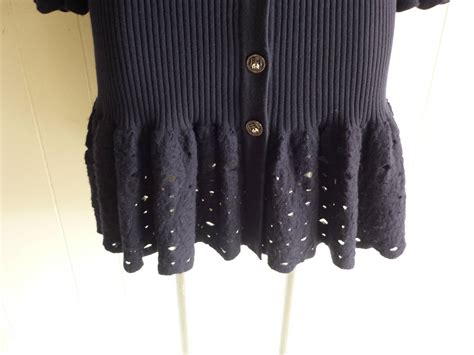 Elephant Navy Sweter 1980s chanel white elephant buttons navy blue wool
