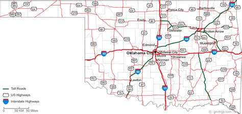 roadmap of oklahoma map of oklahoma