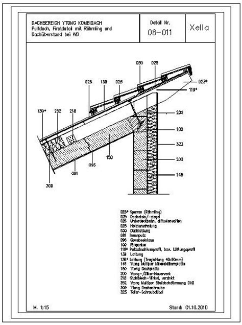 Pultdach Aufbau Detail by Cad Detail 08 011 Pultdach Firstdetail Mit R 228 Hmling Und