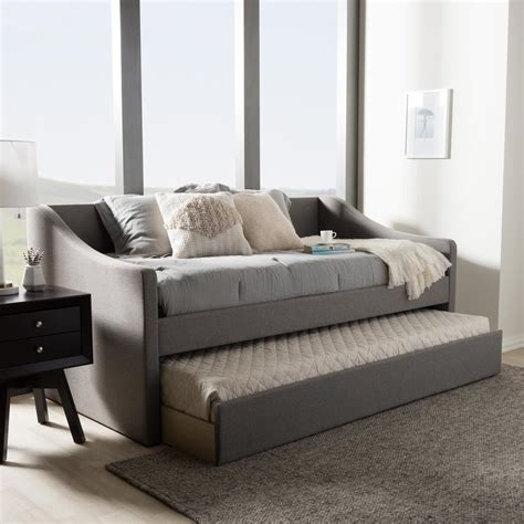 contemporary day bed baxton studio barnstorm contemporary gray fabric