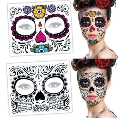 temporary face tattoos halloween 2x day of the dead mask temporary waterproof