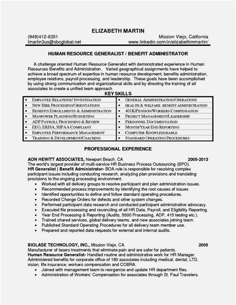 entry level hr resume exles entry level hr generalist resume resume template