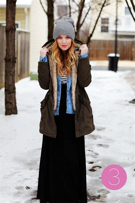 non traditional styling of winter midi maxi skirts