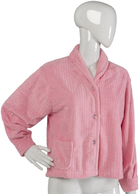 bed jacket womens luxurious button up housecoat ladies slenderella fleece ribbed bed jacket