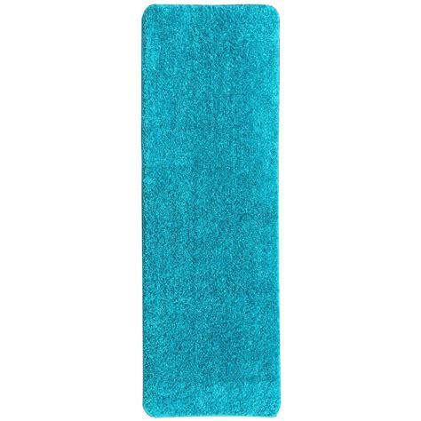 shaggy collection rugs ottomanson luxury shaggy collection shag solid design blue 1 ft 8 in x 4 ft 11 in rug runner