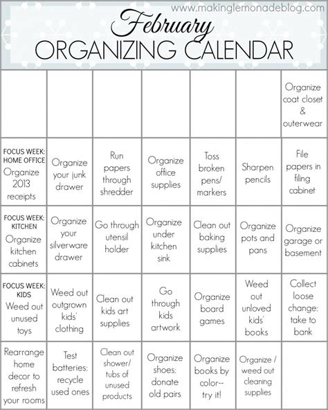 printable calendar home organization free printable february organizing calendar making lemonade