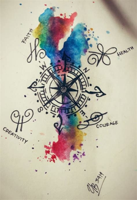 watercolor tattoo idea quot compass quot idea with watercolor tatts