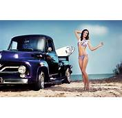 Vehicles Girls Bikini Brunette Truck Cars Wallpaper  1920x1200