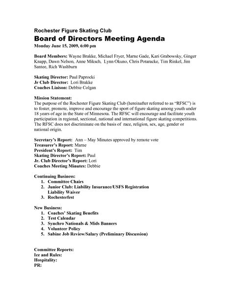 directors meeting agenda template directors meeting agenda template 10 best images of sle board of directors agenda board