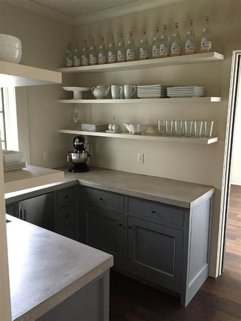 Grey Kitchen Pantry Gray Cabinets With Concrete Countertops Transitional