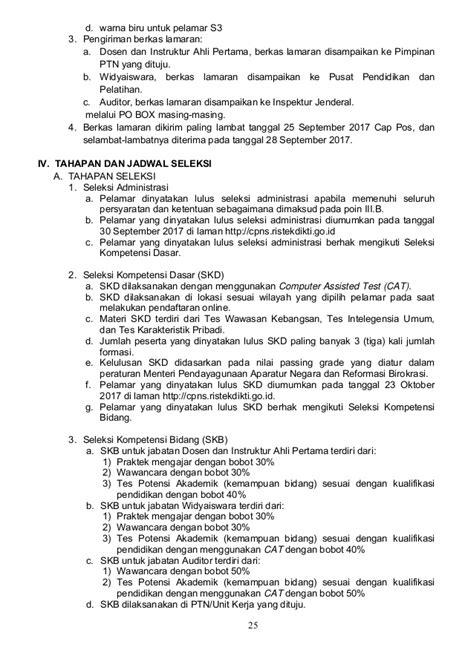 Contog Surat Lamaran Cpns Kemenristek by Pengumuman Seleksi Cpns Kementerian Riset Teknologi Dan
