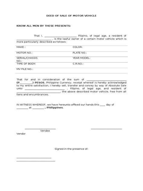 bill of sale of motor vehicle template with philippines deed of sale