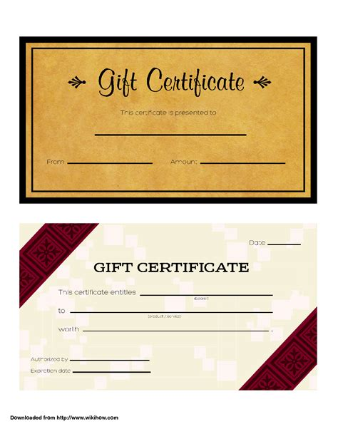 wording for gift certificates t chart exles