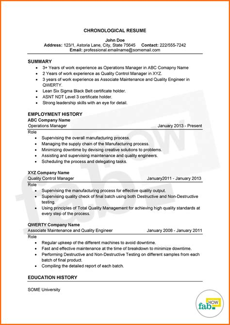 chronological resume chronological order resume template