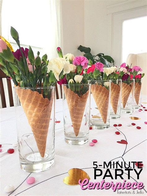 55 Easy Flower Arrangement Decoration Ideas Pictures 5 Minute Waffle Cone And Flower Galantine S Centerpieces Waffle Cones Waffles And