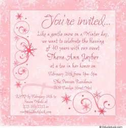 winter chic tea party invitation snowflakes soft pink