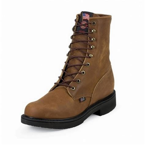 justin double comfort boots justin boots double comfort 8 quot aged bark steel toe work
