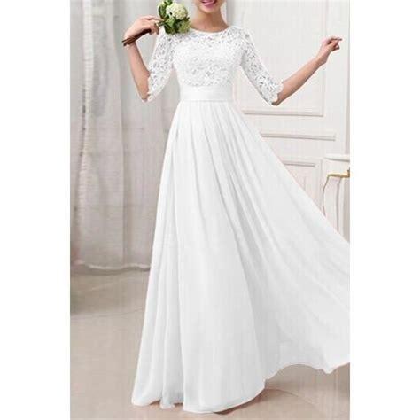 Robe Longue Et Blanche - robe blanche longue mousseline et dentelle taille 38 40