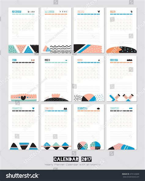 cute calendar template 2017 yearly planner stock vector