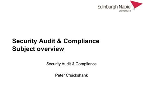 security audit and compliance course overview