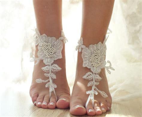 braut sandalen ivory beach wedding barefoot sandals floral lace sandals