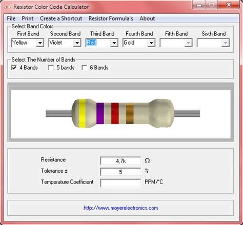 6 band resistor calculator resistor color code calculator 4 5 and 6 band xtronic