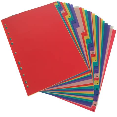 color dividers a4 31pages colored pp binder index divider 11holes
