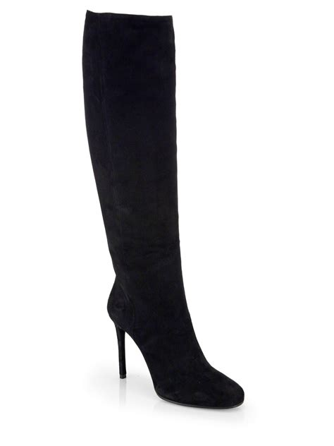 suede high boots prada suede knee high boots in black nero lyst