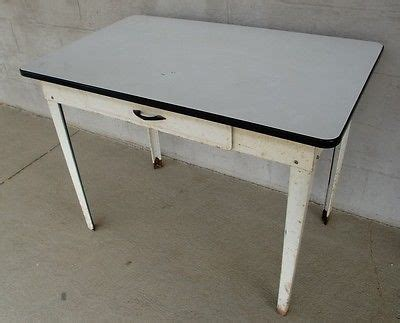 vintage enamel top farm table one drawer all metal tops