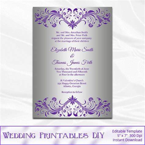 violet purple vintage paisley free wedding invitation free