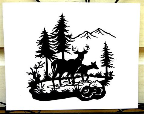 Southwest Backyard Designs Items Similar To Tranquil Deer In Woods Scene Hand Cut