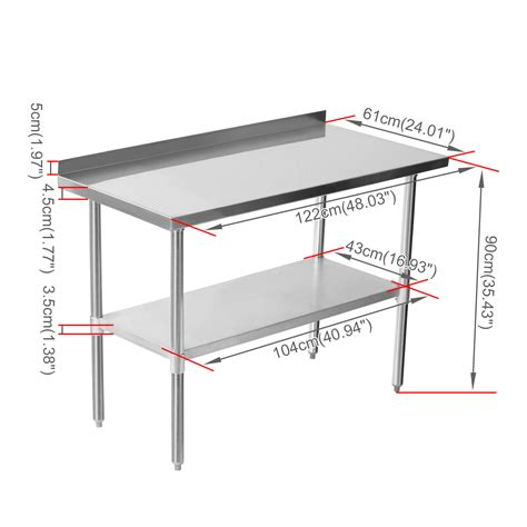kitchen table dimensions commercial stainless steel work bench kitchen catering table shelf backsplash ebay