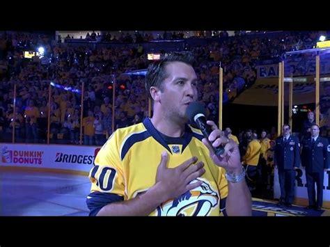luke bryan games luke bryan sings national anthem before predators