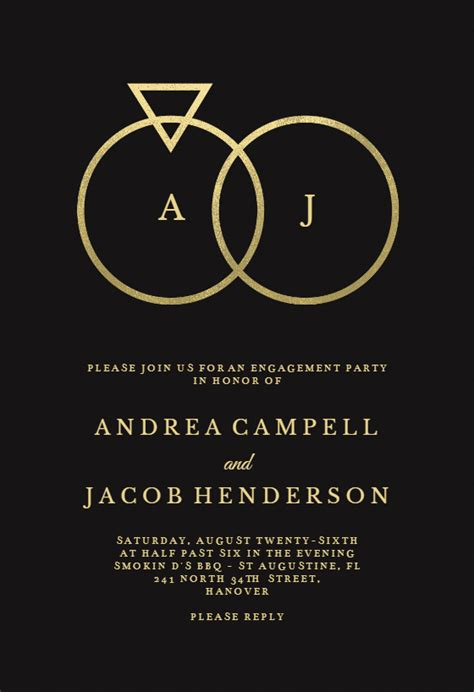 connected rings engagement party invitation template