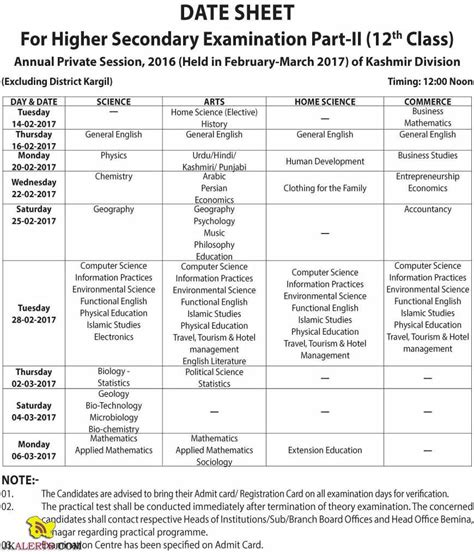 date sheet for day jkbose date sheet 12th class annual session 2016