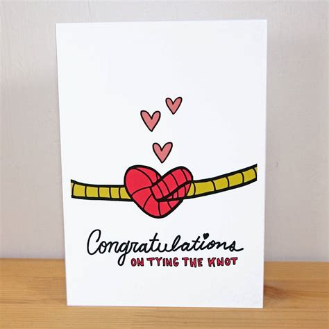 Wedding Wishes Tying The Knot by Congratulations On Tying The Knot A6 Wedding Card By