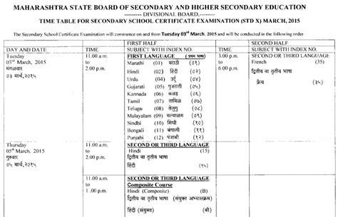 Maharashtra Entrance For Mba 2015 by Maharashtra Board Ssc Timetable 2015 Exacthub