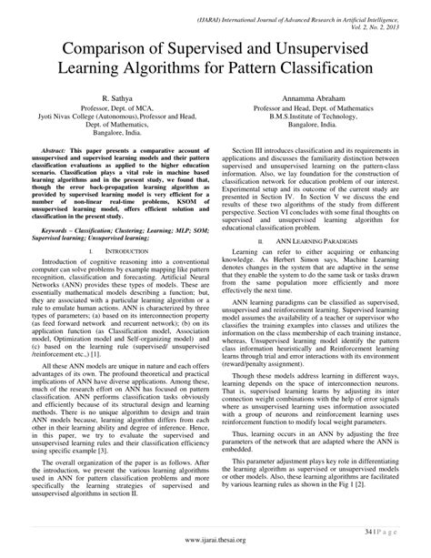 pattern classification text comparison of supervised and unsupervised learning