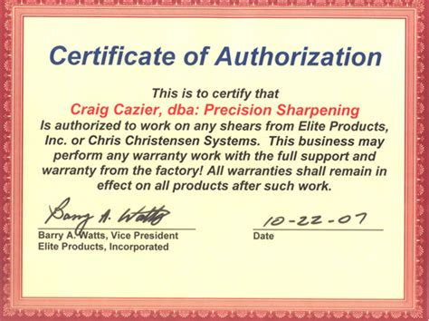 certificate of authorization template chris christensen elite products authorization