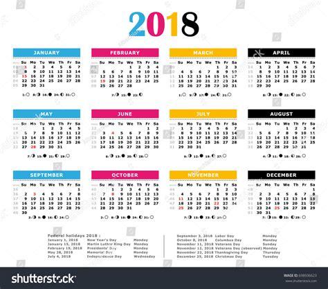 Numbered Week 2018 cmyk calendar weeks numbered moon stock illustration