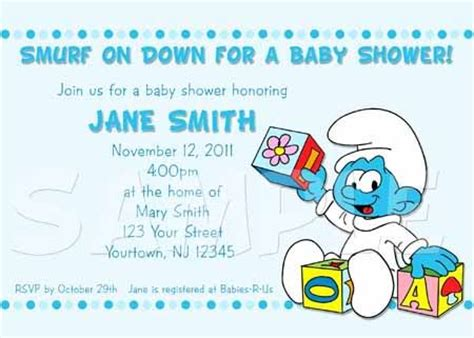 smurf invitation templates smurfs baby shower invitation ebay smurf baby shower