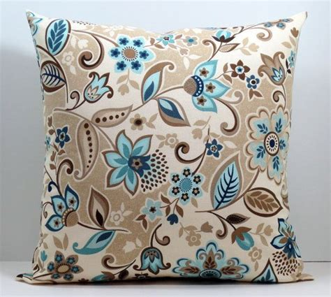 Blue And Brown Decorative Pillows by Beige Blue Brown And Floral Decorative Throw