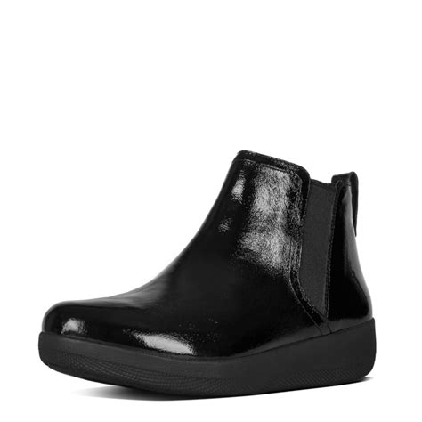 fitflop fitflop design superchelsea boot in black patent