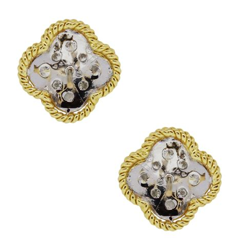 Clover Earring 18k yellow gold 80ctw clover earrings