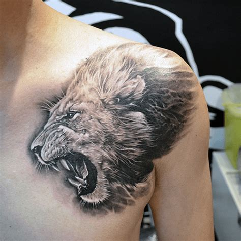 lion tattoo on chest and shoulder 70 lion chest tattoo designs for men fierce animal ink ideas