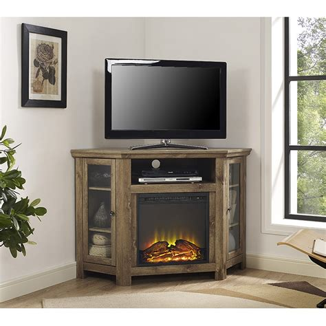 48 quot corner fireplace tv stand barnwood